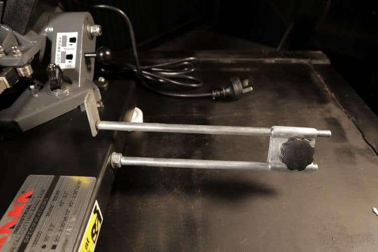 Portable band saw material stop on the kaka bs-85
